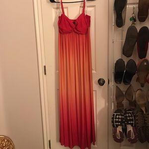 Floor length peach and pink dress